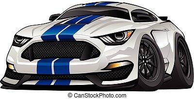automobile, americano, cartone animato, muscolo, moderno