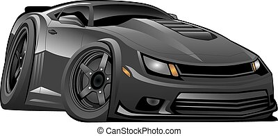 automobile, americano, moderno, nero, muscolo