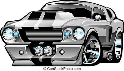 automobile, americano, muscolo, cartone animato, classico