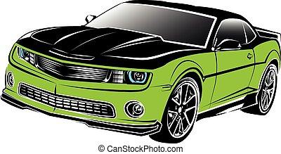 automobile, americano, muscolo, verde