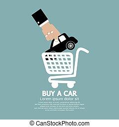 automobile, automobile., comprare, carrello