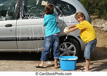 automobile, bambini, lavaggio, chores