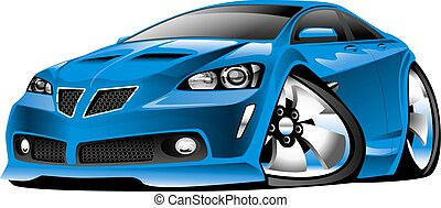 automobile blu, moderno, cartone animato, muscolo