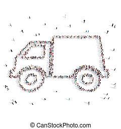 automobile, camminare, .3d, illustration., persone
