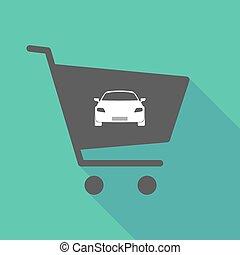 automobile, carrello, uggia, lungo
