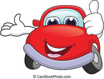 automobile, cartone animato, carattere, pollice