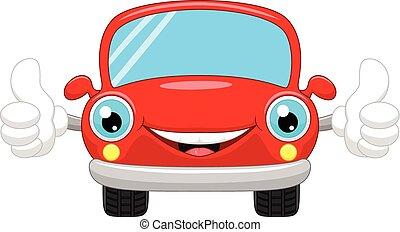 automobile, cartone animato, dà, su, pollici