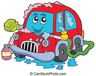 automobile, cartone animato, lavare