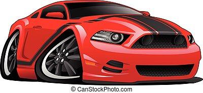 automobile, cartone animato, muscolo, illustrazione, rosso