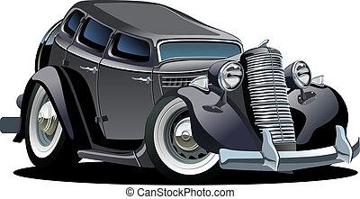 automobile, cartone animato, retro