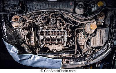 automobile, cattivo, manutenzione, concetto