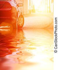 automobile, closeup, acqua