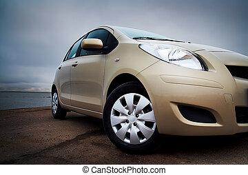 automobile, closeup, front-side, beige