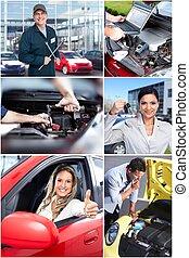 automobile, collage., riparazione