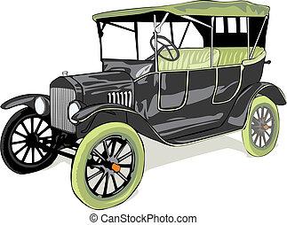 automobile, colorato, vecchio, isolato, vettore, divertente