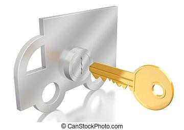 automobile, concetto, key/, 3d