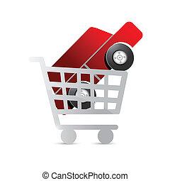 automobile, concetto, shopping, illustrazione