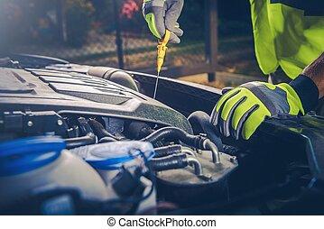 automobile, controllo petrolio, meccanico