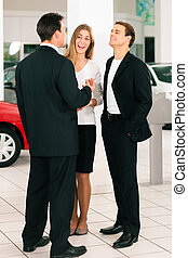 automobile, coppia, commerciante, commesso