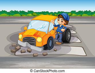 automobile, corsia, abbattersi, pedone