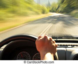 automobile, dentro, guida