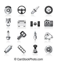 automobile, differente, parti, tipo, icone