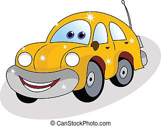 automobile, divertente, giallo