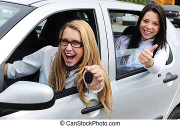 automobile, donne, rental:, guida, nuovo