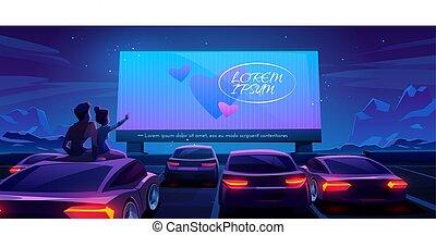 automobile, drive-in, coppia, cinema, datazione, teatro