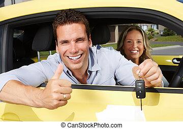 automobile, driver, key., uomo