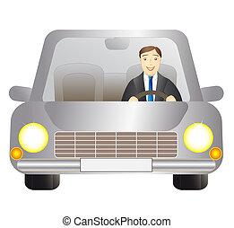 automobile, driver, uomo argento