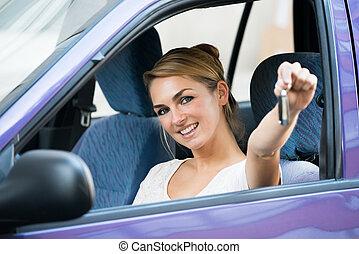 automobile, esposizione, donna, chiave, nuovo