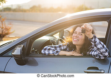 automobile, esposizione, donna, giovane, chiave