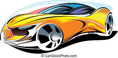 automobile, essere, giallo, disegno, fatto, me, nuovo