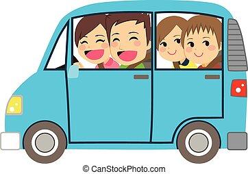 automobile, famiglia felice, minivan