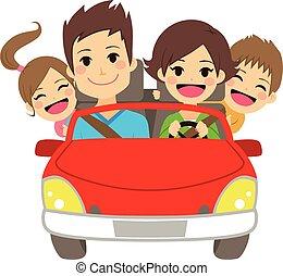 automobile, famiglia, felice