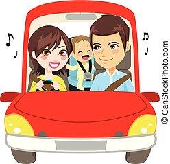 automobile, famiglia, guida, viaggio