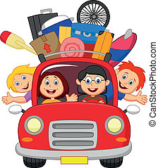 automobile, famiglia, viaggiare, cartone animato