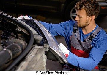 automobile, faro, officina, meccanico, nuovo