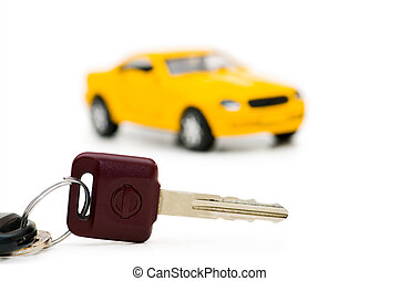 automobile, fondo, isolato, chiavi, bianco