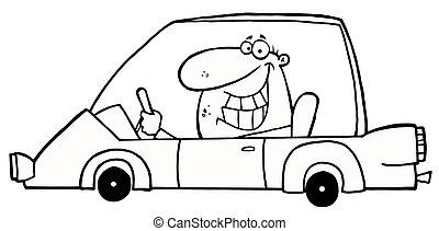 automobile, ghignando, delineato, azionamento uomo
