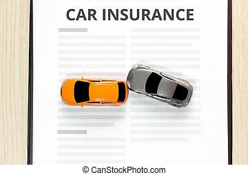 automobile gioco, cima, incidente, insurance., vista