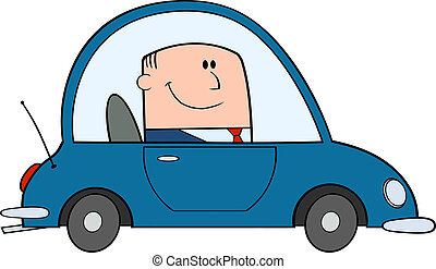automobile, guida, uomo affari