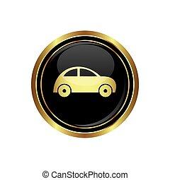 automobile, icona, bottone