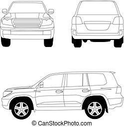 automobile, illustrazione, vettore, veicolo, linea, sport, bianco, utilità