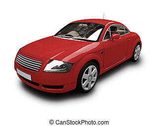 automobile, isolato, vista, rosso, fronte