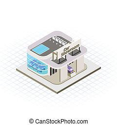 automobile, isometrico, sala esposizione