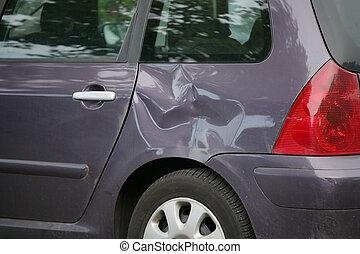 automobile, lato, ammaccato