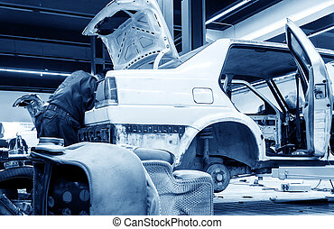 automobile, lavorante, riparazione