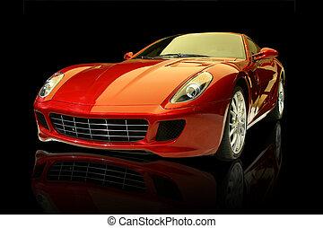 automobile, lusso, rosso, sport